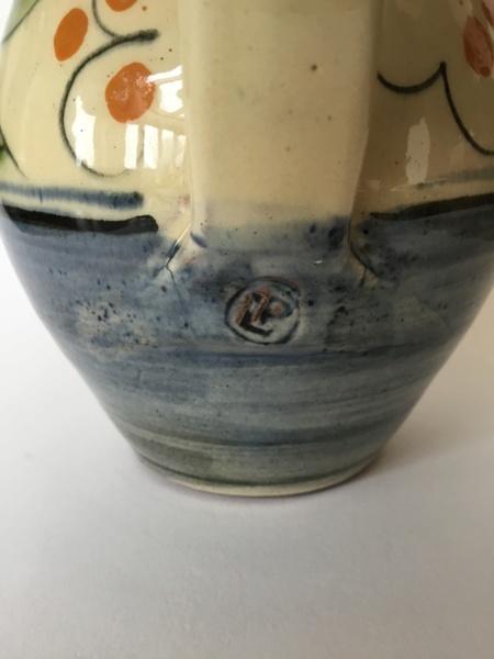 Earthenware jug, leaf decoration, PL impressed mark - Lostwithial Pottery D280f110