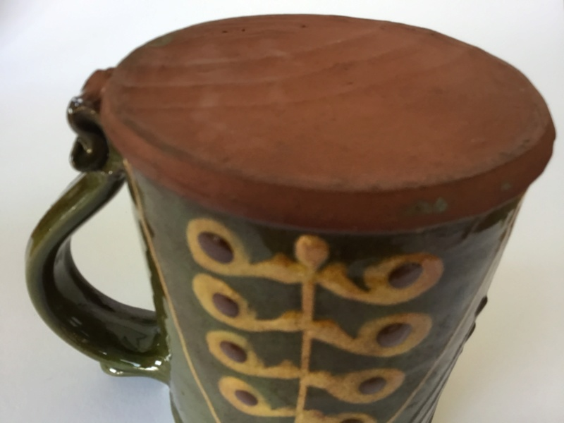 Slipware tankard, dark green, honey & brown - John Pollex?  D5ddf110