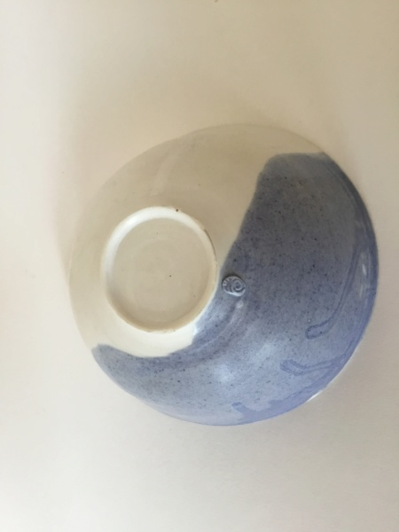 White, with blue green and brown porcelain type studio bowl, Spiral mark D66e0810