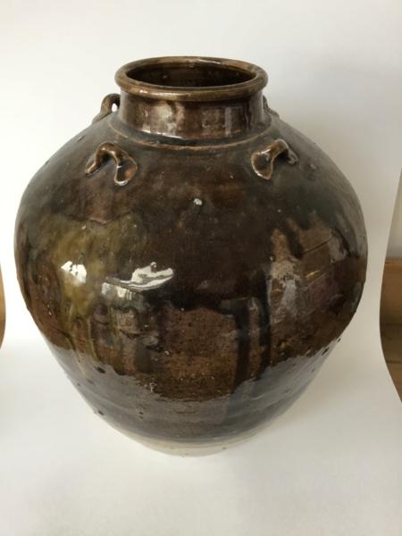 studio vase, 4 lug handle, mixture of glazing colours, drips. British Asia? D7d7e910