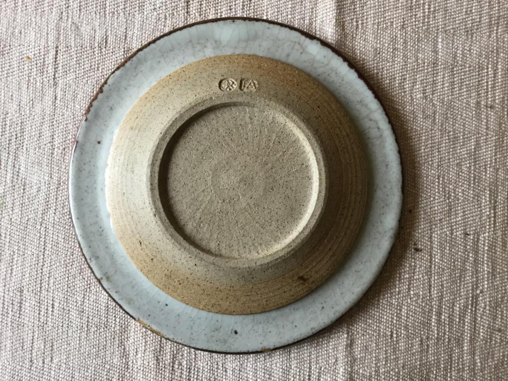 stoneware studio dish, leaf painted,  JA mark AP mark  D85f3710