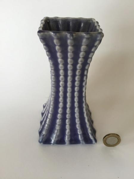 """Blue Art Deco? vase 7"""" unclear mark Dcf07e10"""
