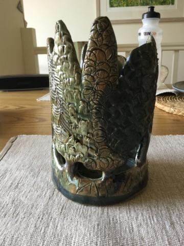 Studio pottery tea light holder, A mark Ddf6b310