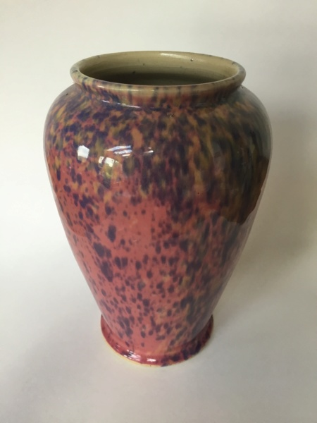 "Thrown baluster 11"" vase, pink with purple & yellow splodges E0429e10"