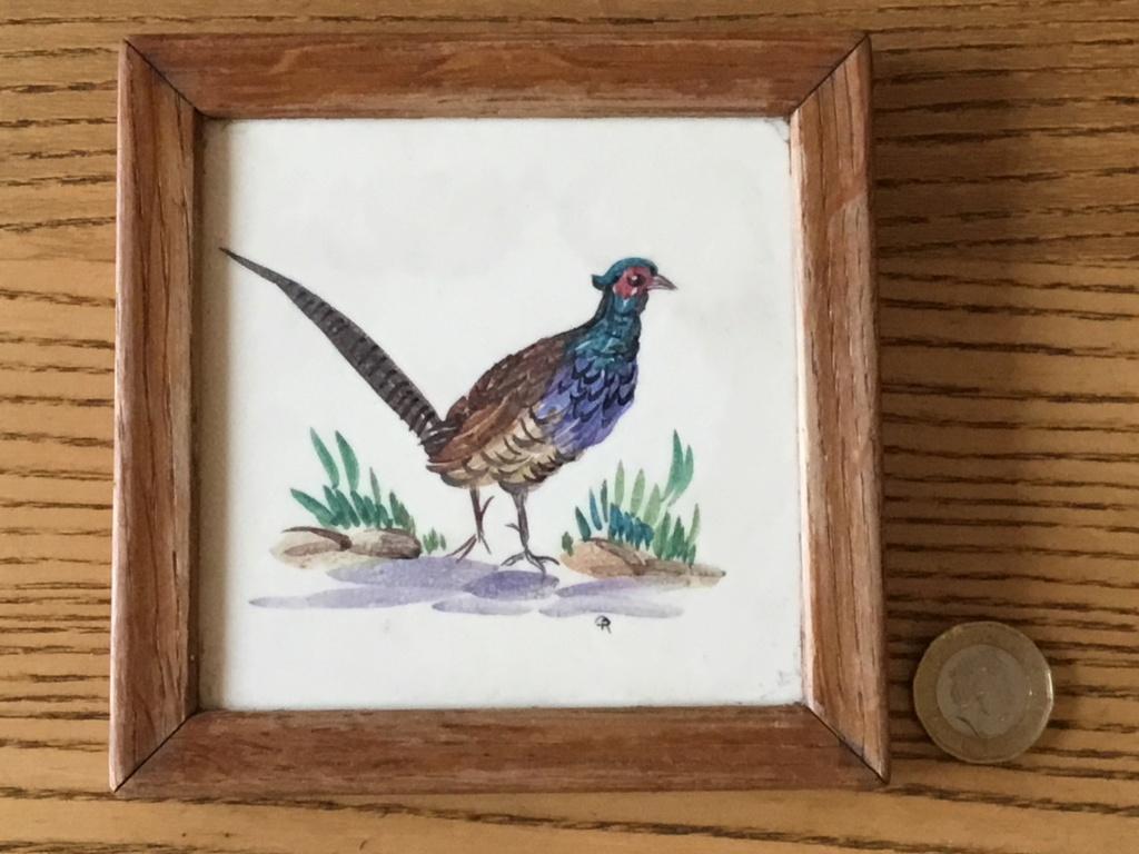 Pheasant tile in wooden frame E0e4d510