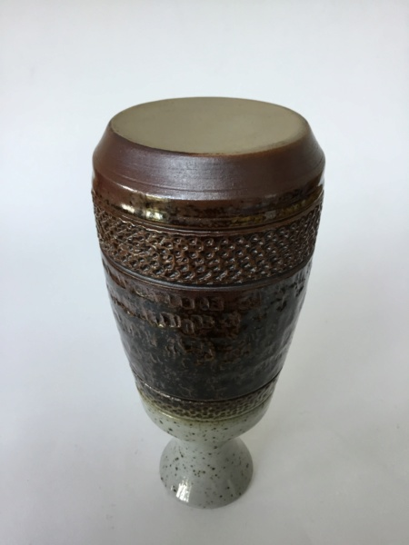 1970s or 80s style stoneware vase, impressed pattern - Purbeck  E322eb10