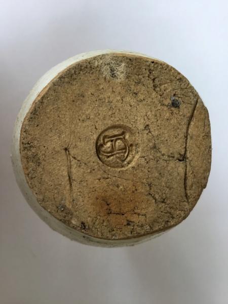 Heavy studio stoneware bottle vase, PJ or JP interlinked mark E6314510