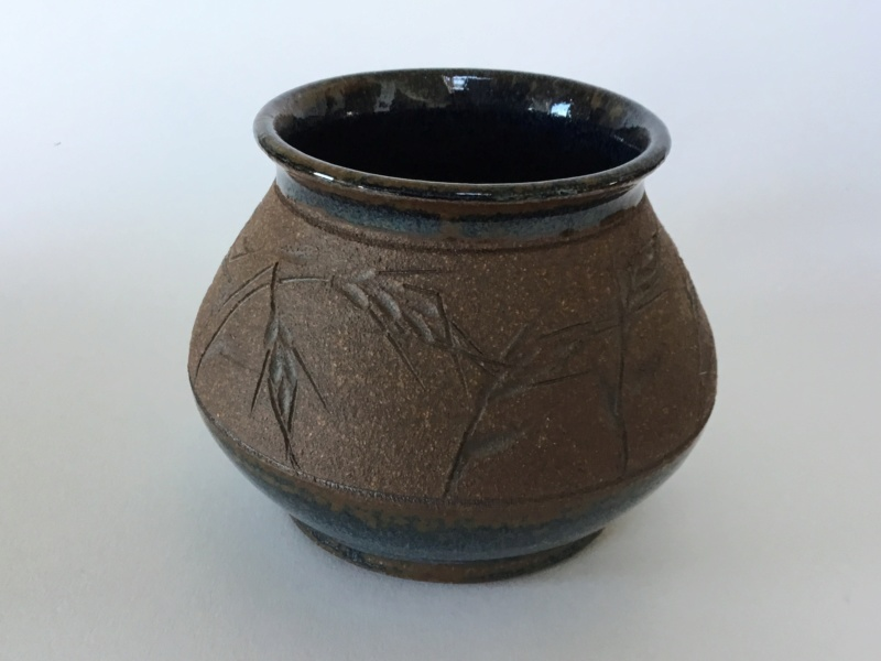 Scandinavian? Stoneware mug, incised grasses,  blue glaze, wheat ear E64c7710
