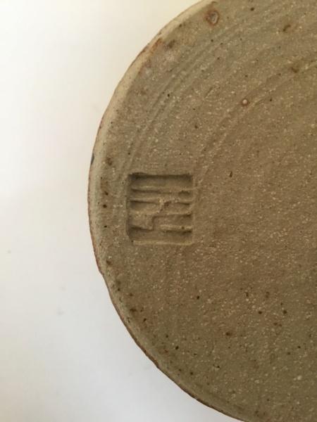 Studio tankard, tenmoku& speckled green glaze, line pattern, unknown mark E6594010
