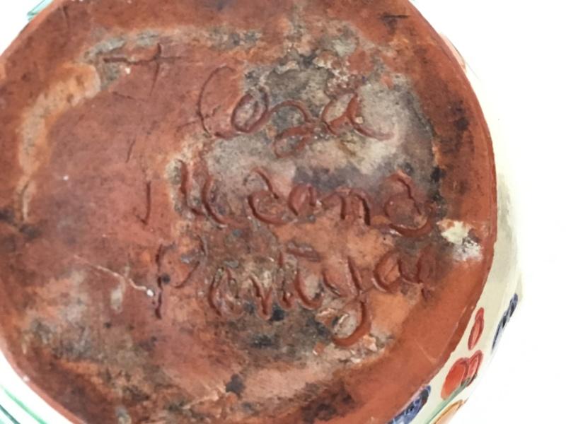 Art pottery sgraffito jug. Portugal? Italian? Signed Ea304810