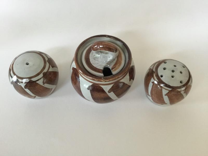 Studio cruet set, red clay, copper brown decoration  F2334710