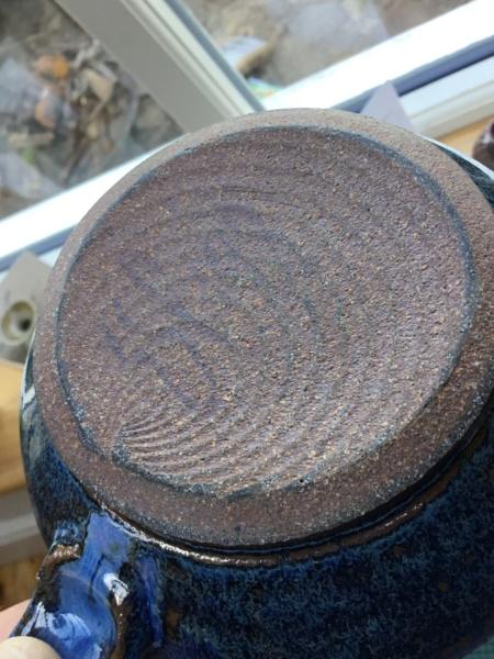 Scandinavian? Stoneware mug, incised grasses,  blue glaze, wheat ear F3023d10