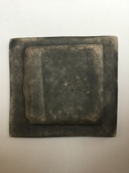 Raku square dish, Modernist Design, signed F36f3e10