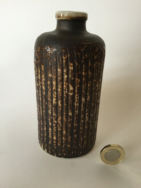 Stoneware fluted Bottle Vase, thrown or moulded? No mark F5f3d710