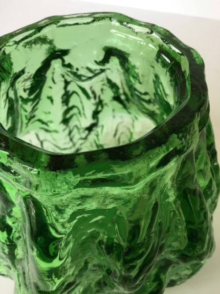 Green moulded textured vase. - Not Whitefriars - Probably Ingrid Glas F6851910