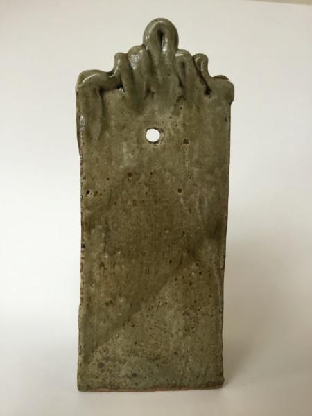 Studio slab wall vase, 2 marks - cross & dots mark and GL? Ash glaze Fad48e10