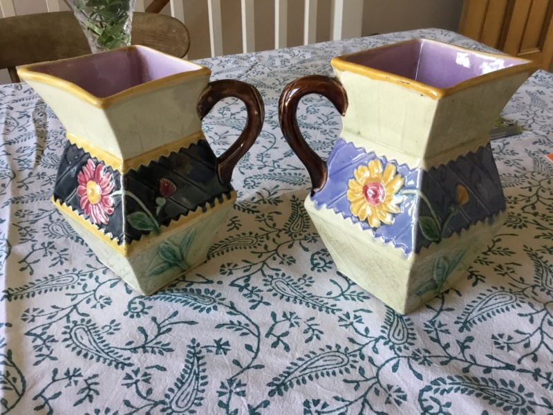 Arts and crafts style jugs, flowers, unmarked Fb11da10