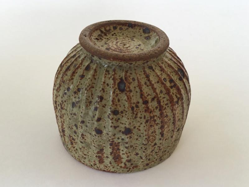 Stoneware studio yunomi, fluted,  speckled glaze, possibly mp mark Fd40f310