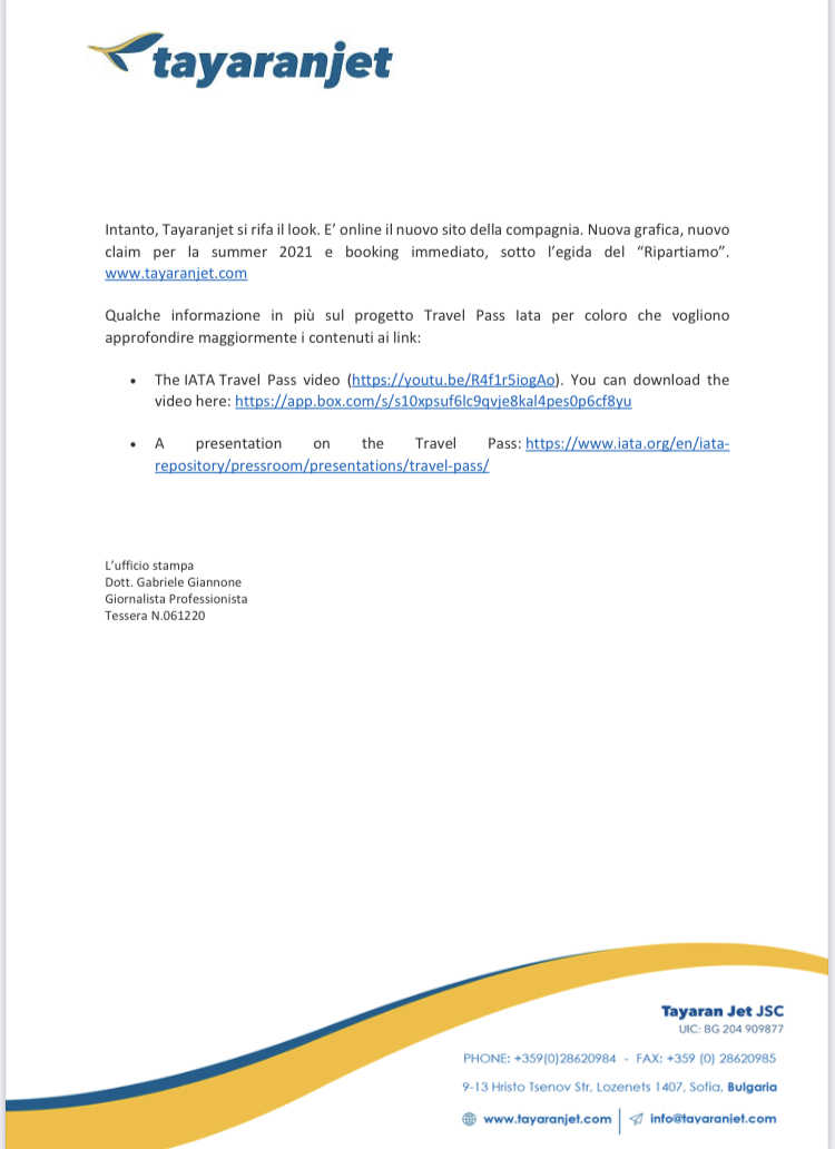Tayaranjet: nuovi voli nazionali e internazionali 88a77c10