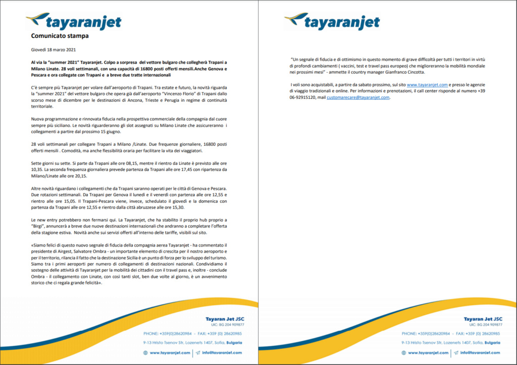 Tayaranjet: nuovi voli nazionali e internazionali Comuni10