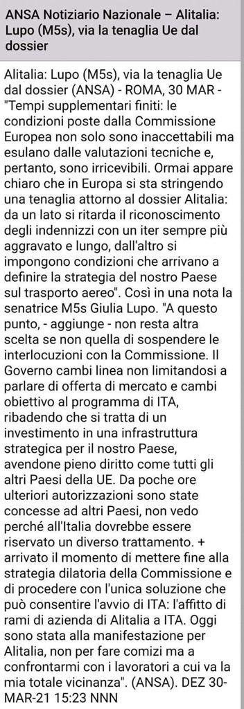 Alitalia, scontro con la EU D4cddc10