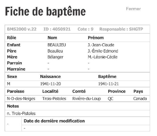 BEAULIEU Jean-Claude - Recherche Acte Baptême    Fiche_11