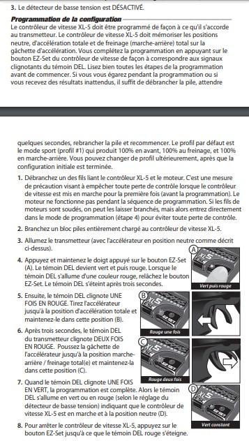 Problème de désynchronisation de Variateur Traxxas XL-5 et la télécommande TQ sur le traxxas slash Config10