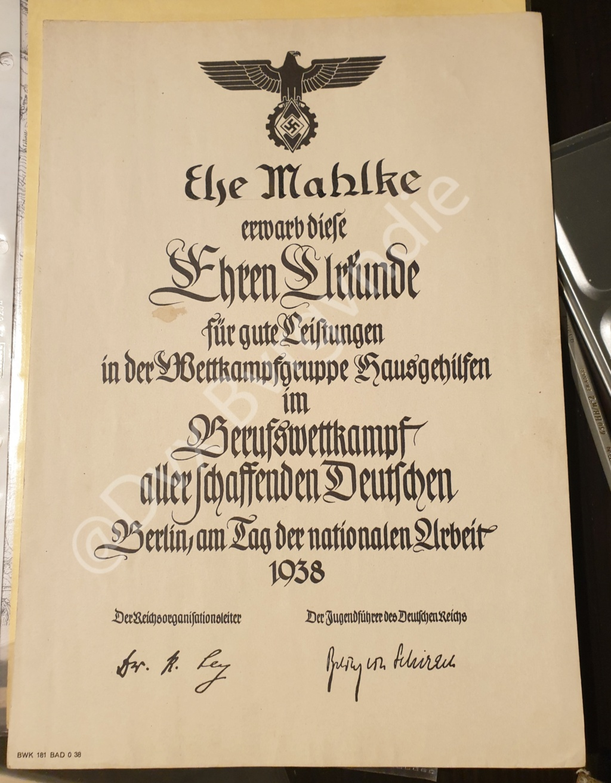 Diplome IIIe Reich / SS / HJ ? 20201218