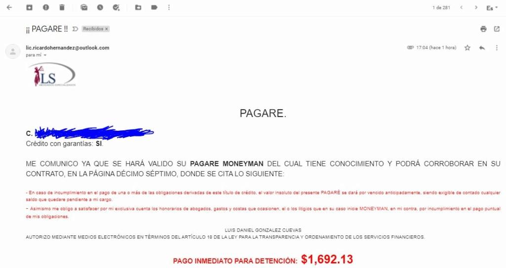 CORREO DE LS ABOGADOS POR DEUDA CON MONEY MAN 110