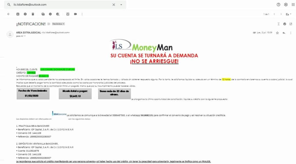 Correos Electrónicos con amenaza de Fraude, embargo y procedimiento judicial 1x10