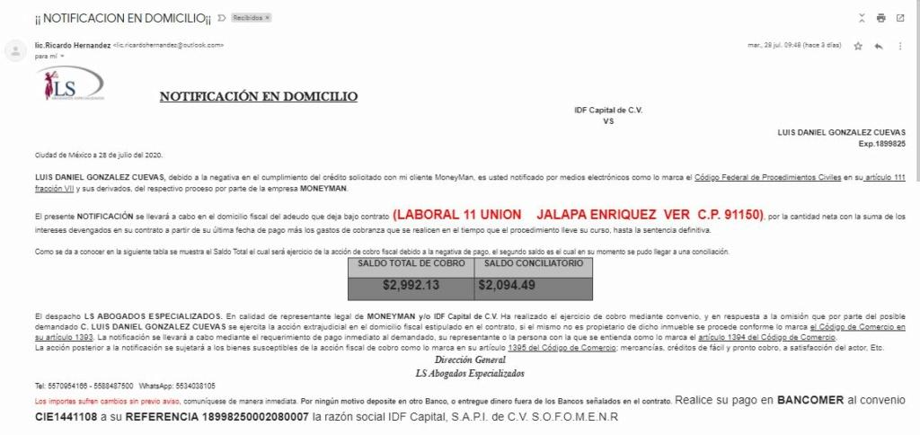 Correos Electrónicos con amenaza de Fraude, embargo y procedimiento judicial 210