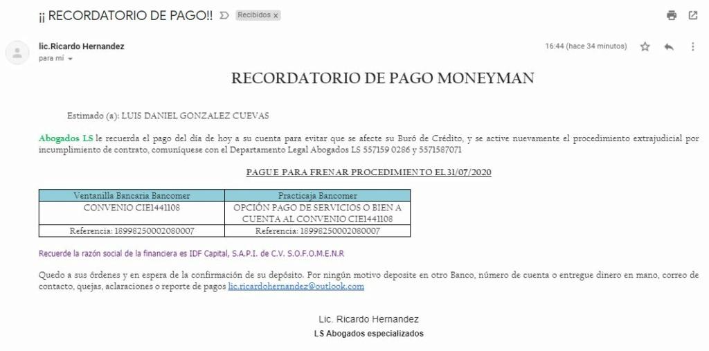 Correos Electrónicos con amenaza de Fraude, embargo y procedimiento judicial 310