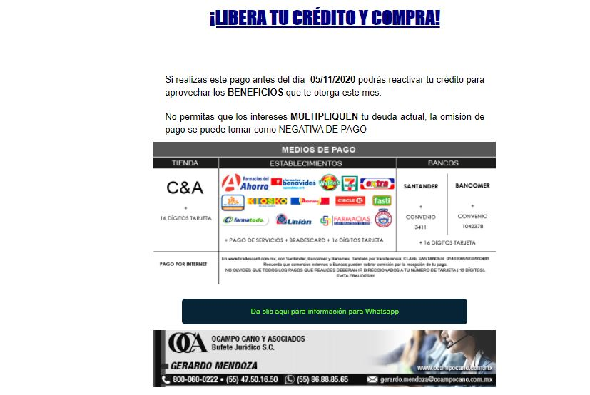 """Notificación """" Demanda de saldo $2,030"""" OCAMPO CANO y ASOCIADOS Bufete Jurídico 311"""