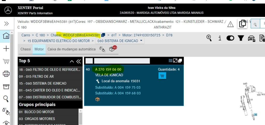 Qual seria a vela de ignição correta pra C180 CGI SPORT 1.6 156cv 2014/2014? 67b90410