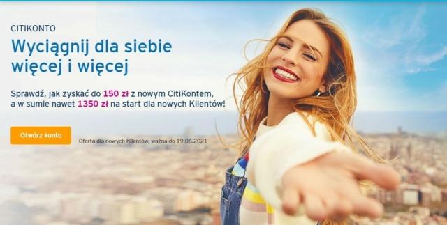 Do wzięcia nawet 1350 złotych za przetestowanie CitiKonta Konto_10