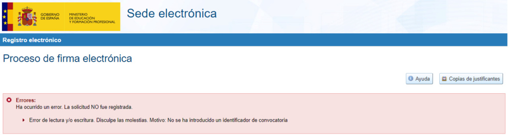 PROBLEMAS INFORMÁTICOS AL CONSOLIDAR O HACER DEFINITIVA LA SOLICITUD Errora12