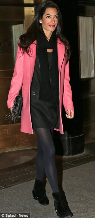 George Clooney out to dinner with Amal Alamuddin in New York New_yo11
