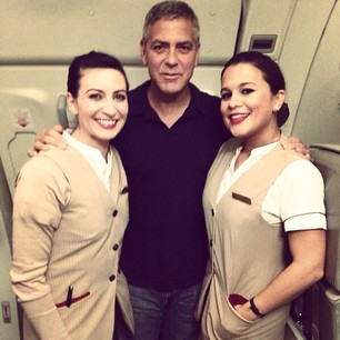 George Clooney on a plane to New York Plane_10