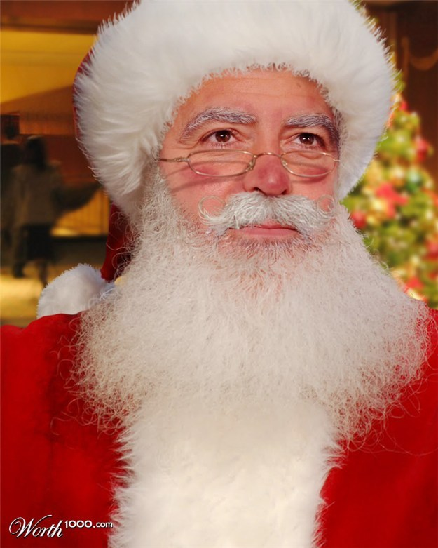 10 Celebrities Who'd Make Amazing Mall Santas - of course George Clooney! Santa_10