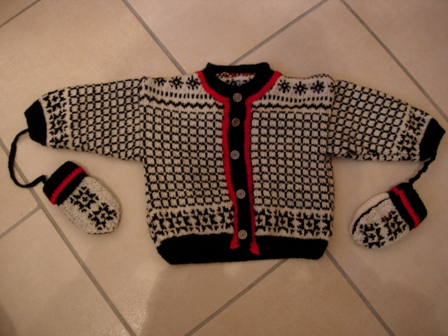 un pull, un gilet et des moufles pour un bébé Dscn2819