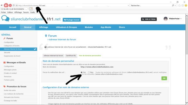 Démarche faite pour nom de domaine Forum11
