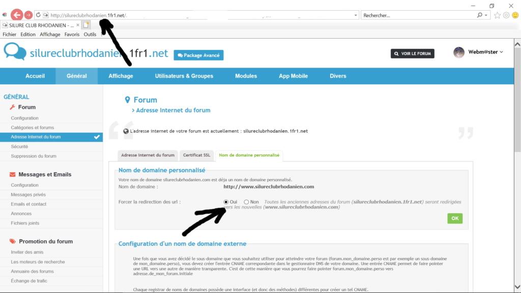 Démarche faite pour nom de domaine Forum13