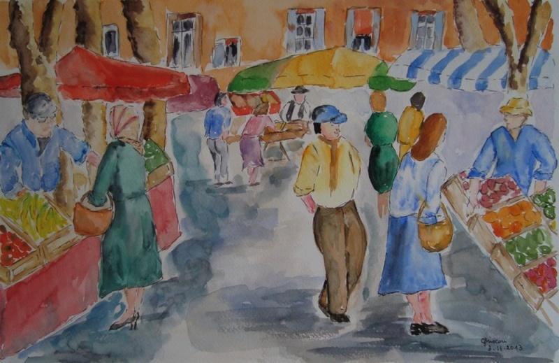 marché provençal (aquarelle d'après peinture au couteau de Jequel) Marcha13