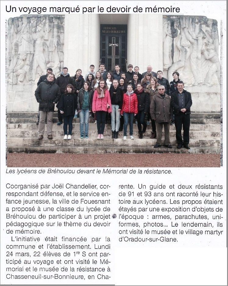 Sortie classe de 1ère S Lycée de Fouesnant à Chasseneuil sur Bonnieure (16) et Village martyr Oradour/Glane (87) 30_art10