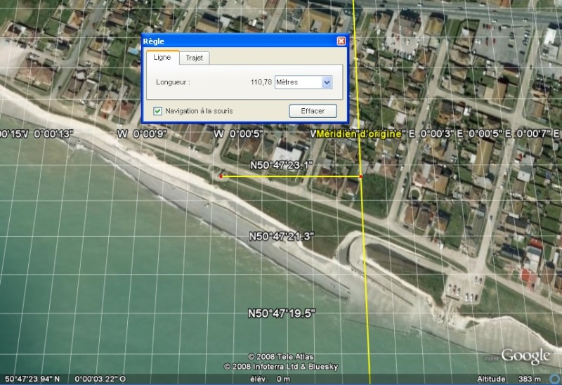Méridien de Greenwich au travers de Google Earth Greenw11