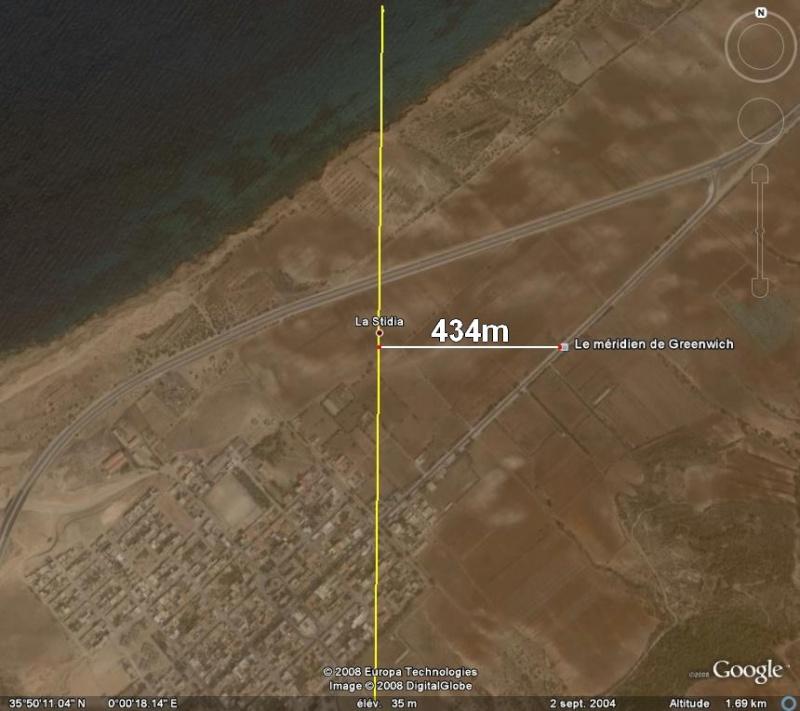 Méridien de Greenwich au travers de Google Earth Greenw12
