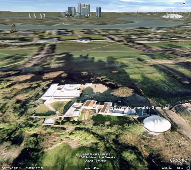 Méridien de Greenwich au travers de Google Earth Greenw13