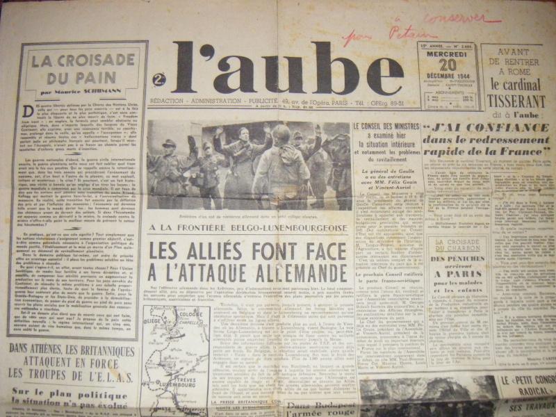Journal L'AUBE du 20-12-1944 avec annotation sympathique ! Journa11