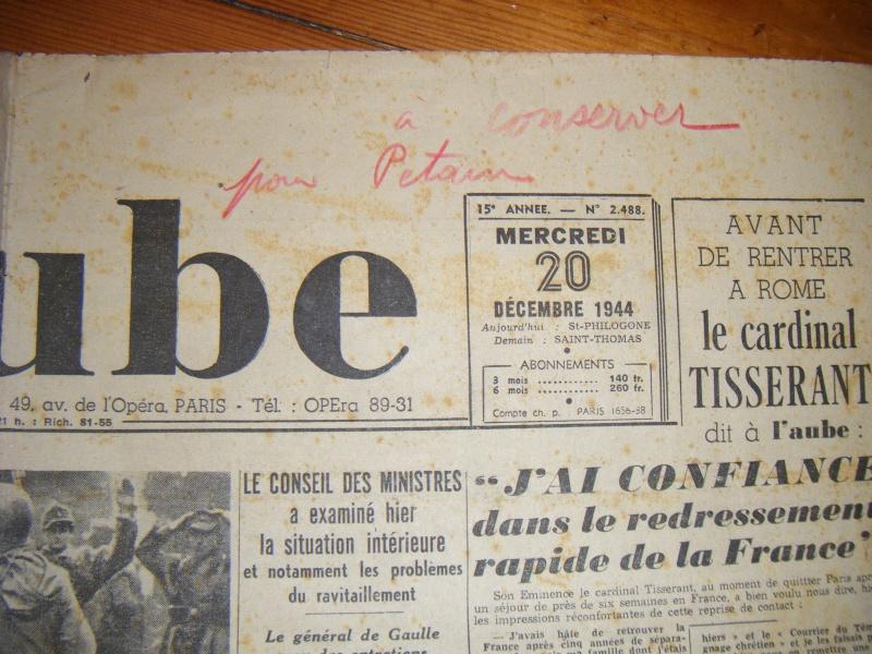 Journal L'AUBE du 20-12-1944 avec annotation sympathique ! Journa12