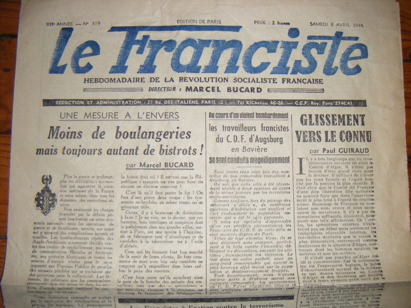 Journal L'AUBE du 20-12-1944 avec annotation sympathique ! Journa14